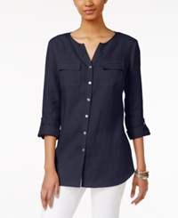 Jm Collection Linen Utility Shirt Only At Macy's Intrepid Blue