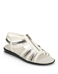 Aerosoles Clothesline Faux Leather Gladiator Sandals White Silver