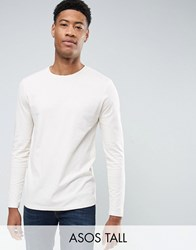 Asos Tall Long Sleeve T Shirt With Crew Neck Whitecap Gray Beige
