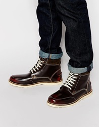 Asos Lace Up Boots In Brown Leather With Wedge Sole