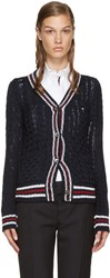 Thom Browne Navy Cable Knit Cardigan