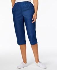 Alfred Dunner Pull On Cropped Denim Pants