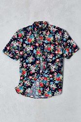 Cpo Navy Rose Floral Print Short Sleeve Button Down Shirt