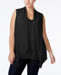 Ing Plus Size Layered Look Vest Top Black