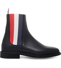 Thom Browne Tricolour Panel Leather Chelsea Boots Black