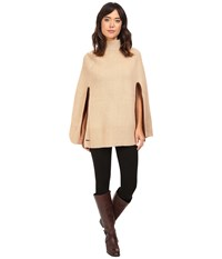 Lauren Ralph Lauren Turtleneck Honeycomb Capelet Camel Women's Long Sleeve Pullover Tan
