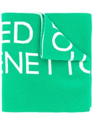 United Colors Of Benetton Knitted Logo Scarf Green