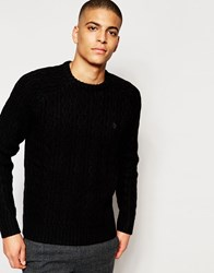 Original Penguin Cable Wool Knitted Jumper Black