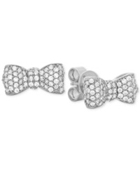 Crislu Platinum Over Sterling Silver Crystal Puffy Bow Stud Earrings Platnium