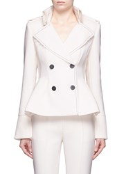 Comme Moi Double Breasted Wool Blend Flare Jacket White