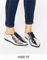 Asos Mighty Wide Fit Pointed Flat Shoes Silver Mirror