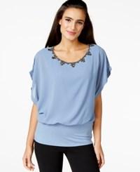 Joseph A Crystal Embellished Dolman Sleeve Top Infinity Blue