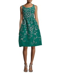 Oscar De La Renta Embroidered Floral Scroll Full Skirt Party Dress Green Pattern
