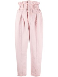 Fendi Paperbag Cropped Jeans Pink