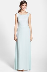 Women's Paper Crown By Lauren Conrad 'Lauren' Lace Bodice Crepe Gown Dusty Aqua