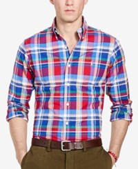 Polo Ralph Lauren Men's Long Sleeve Slim Fit Checked Stretch Oxford Shirt Red Blue Multi