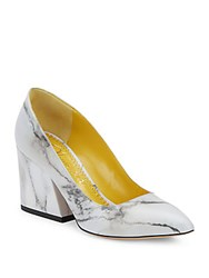 Charlotte Olympia Vendome Marble Print Point Toe Pumps White