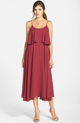 Women's Paper Crown By Lauren Conrad 'Britton' Ruffled Tea Length Crepe Dress Spiced Wine