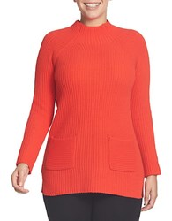 Chaus Ribbed Mockneck Sweater Red