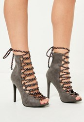 Missguided Grey Contrasting Lace Peep Toe Heeled Boots