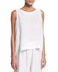 Eskandar Sleeveless Round Neck Linen Shell White