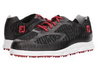 Footjoy Superlite Spikeless Engineered Mesh Black Red Trim White Golf Shoes