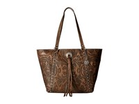 American West Baroque Zip Top Bucket Tote Distressed Charcoal Brown Tote Handbags