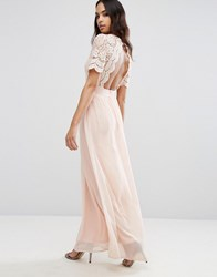 Club L Maxi Dress With Crochet Lace Detail And Cut Out Back Nude Pink