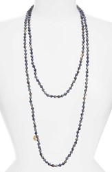 Love's Affect Women's Knotted Semiprecious Stone Necklace Navy
