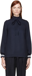 Mother Of Pearl Navy Piqua Orchard Blouse