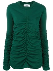 Msgm Ruched Sweater Green