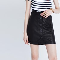 Madewell Leather Button Front Skirt Classic Black