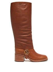 Gucci Lola Gg Plaque Gaiter Leather Boots Tan