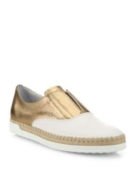 Tod's Leather Espadrille Slip On Sneakers Rose Gold