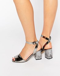 Office Melody Silver Mirror Detailed Heeled Sandals Pewter Mirror Metall
