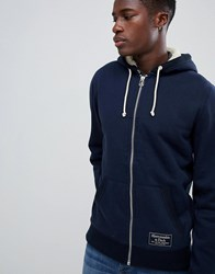 Abercrombie And Fitch Borg Lined Full Zip Hoodie Chest Logo In Navy