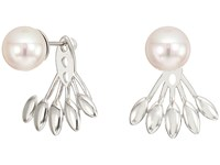 Majorica 8Mm Round Pearl With Feather Like Accent On Sterling Silver Ear Jacket Earrings White Earring