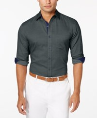 Tasso Elba Men's Diamond Texture Long Sleeve Shirt Charcoal Combo