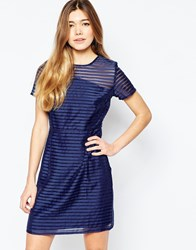 Sugarhill Boutique Dress In Stripe Organza Navy