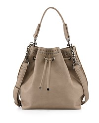 Neiman Marcus Studded Trim Bucket Hobo Bag Stone Gray
