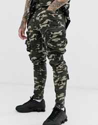Liquor N Poker Utility Cargo Trousers In Camo Green