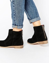 Ravel Back Zip Leather Ankle Boots Black