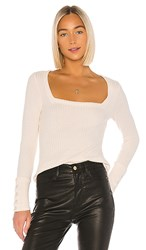 Chaser Square Neck Long Sleeve Tee In Taupe. Powder Puff
