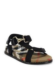 Burberry Ardall Web And Housecheck Sandals Black