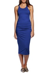 Michael Stars Women's Ruched Side Racerback Midi Dress Lapis Azuli