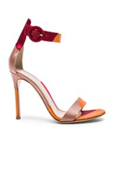 Gianvito Rossi Satin Portofino Heels In Red Orange Pink Red Orange Pink
