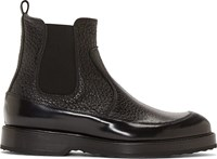 Pierre Hardy Black Grained Leather Chelsea Boots
