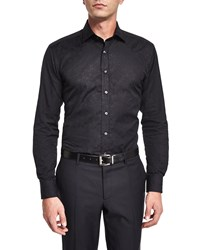 Etro Tonal Jacquard Long Sleeve Sport Shirt Black