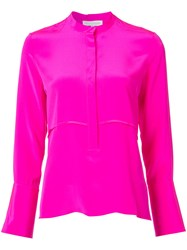 Nellie Partow Concealed Button Blouse Pink Purple