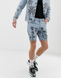 Criminal Damage Co Ord Denim Shorts In Blue With Palm Print